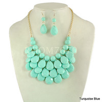 light Turquoise -Teardrop Bib Necklace and Earrings Set ,Bubble Bib Statement holiday party wedding Necklace,bridesmaid gift