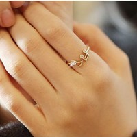 Modern Fashion Rhinestone Note Ring - Rings