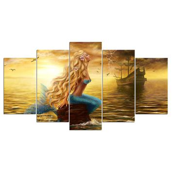 Mermaid Boat Ship on Golden Sea Poster 5 Panel Canvas Art Print Wall Art