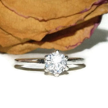 Purity Ring, Sterling Silver Low Profile Ring, Promise Ring, 1 Carat Engagement Ring