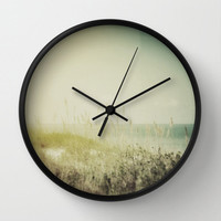 Wall Clock, Sand Dunes & Sea Oats Beach Landscape Clock, Moss Green Surreal Art, Round Hanging Clock, Boho Hippie Coastal Living Surf Decor