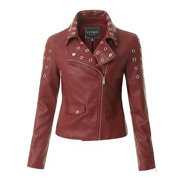 LE3NO Womens Fully Lined Long Sleeve Studded Faux Leather Moto Biker Jacket