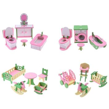 Wooden Simulation Miniature Dollhouse Furniture Toys Children Kids Play Toy Educational Sweet Wooden Baby Birthday Gift Toys