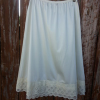 Cream Lace Extender Slip - Skirt Extender - Dress Extender - Petticoat - Ruffled Half Slip