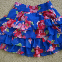 Hollister Floral Print Blue Skirt
