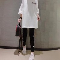"""Balenciaga"" Women Fashion Casual Wave Stripe Letter Print Middle Sleeve Leggings Set Two-Piece Sportswear"