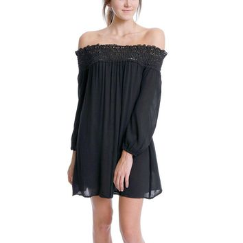 Wandering Around Off-Shoulder Dress - Black