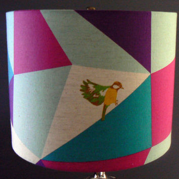 Color Block with Birds, Drum Lamp Shade, Rose, Purple and Teal