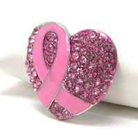 Breast Cancer Awareness Pink Ribbon Heart Brooch