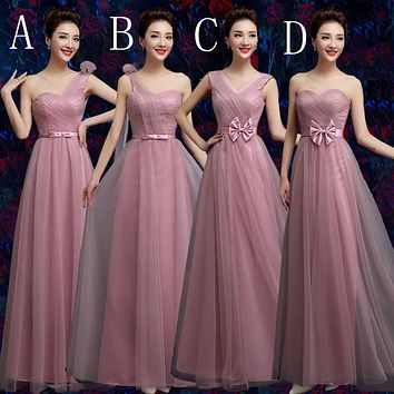 SJZL80DJ2#Off the shoulder cameo brown gauze flower 2017 new long prom bridesmaid dresses cheap Sister Bridesmaids dress cheap