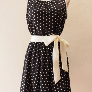 Ready to Ship - Polka Dots Party - Black Summer Dress, Vintage Inspired, Pin up Rockabilly, Dot Dress, Swing Dancing Skirt, S,M,L,XL