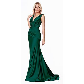 Long Fitted Jersey Gown Emerald Green Ruched Pleated Waistline Deep V-Neckline