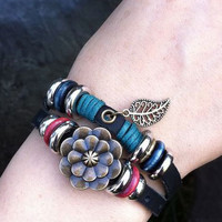 Cool Leaf Rose Leather Bracelet