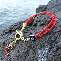 Evil eye bracelet for women,red bracelet, gifts for women, evil eye jewelry, birthday gifts, christmas gifts, xmas present