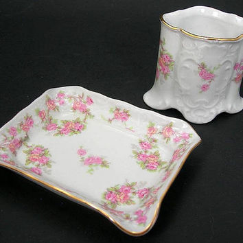 Ladies' Porcelain Smoking Set with Cigarette Cup and Ashtray, Pink Bridal Rose, Made in Germany Vintage 1950s Collectible Tobacciana, Gift