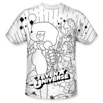 Steven Universe and the Crystal Gems Black and White Allover Print Adult T-Shirt | CartoonNetworkShop.com