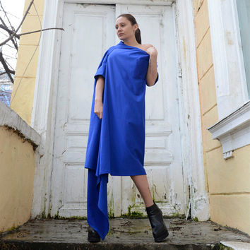 Long Loose Blue Tunic/Fallen Shoulder Spring Blue Dress/Blue Maxi Dress with Pocket/Asymmetrical Blue Kaftan/Oversize Casual Dress