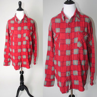 Vintage 1990s red gray GRUNGE plaid oversize long sleeve button down Soft paper thin flannel shirt blouse XL