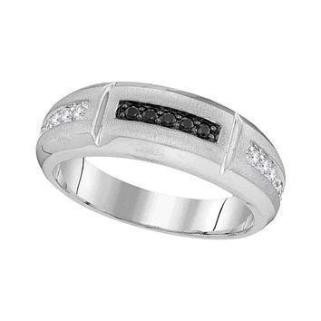 10kt White Gold Men's Round Black Color Enhanced Diamond Notched Band Ring 1/4 Cttw - FREE Shipping (US/CAN)