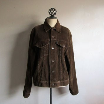 Vintage 70s Mens LEVI Jacket Dark Brown Corduroy Levi Strauss 1970s Trucker Jacket 44