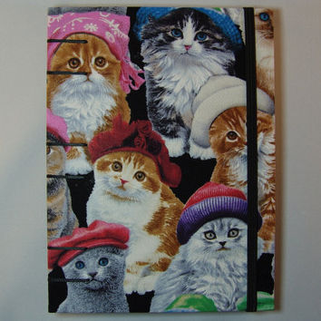 Handmade Fabric Journal - Coptic Stitched - Cats with Hats