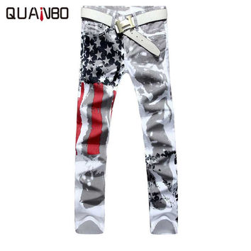 Big size 28-48 Brand Men's pants 2017 New White Printed Fashion Men Jeans Elastic Printing American Flag Jeans Hombre