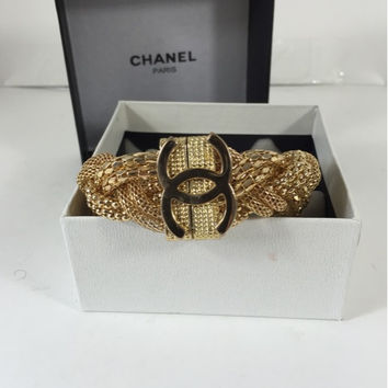 Gold Bracelet With Authentic Chanel Charm (Handmade)