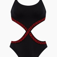 Tape Monokini Side Cut Outs One Piece Swimsuit - Black & Red