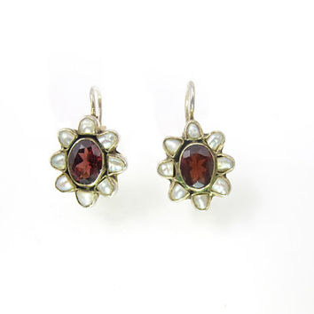 Garnet Pearl Earrings. Sterling Silver Gold Wash Garnet Pearl Halo Earrings. January Birthstone Jewelry.