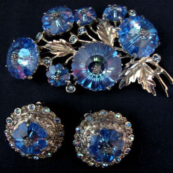 Vintage Juliana Blue Crystal Margarita Rhinestone Pin & Earrings Demi Parue