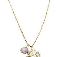 NECKLACE / TREE OF LIFE / HOMAICA STONE CHARM / TEXTURED / TWISTED METAL / LINK / CHAIN / 16 INCH LONG / 1 INCH DROP / NICKEL AND LEAD COMPLIANT