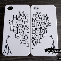 SALE30%OFF: iPhone 4 Cases for Couple - Set of 2 - Love Message Typography iPhone Case // iPhone Cases for Lovers, Giraffe, iPhone Case Pair