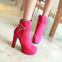 Rhinestone and Bow Ankle Boots High Heels Women Shoes Fall|Winter