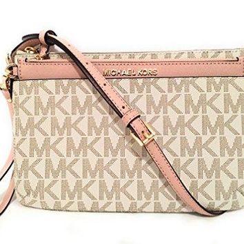 Michael Michael Kors Jet Set Travel Large Pocket Messenger Bag Vanilla Ballet Michael Kors bag