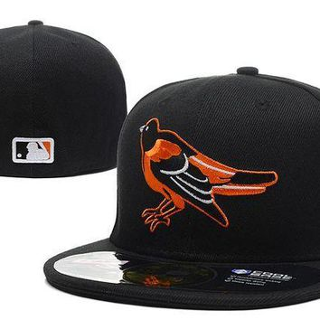 ESB8KY Baltimore Orioles New Era MLB Authentic Collection 59FIFTY Hat Black-Orange