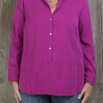 Pretty New with tags J Jill Blouse M Petite sz Berry Pink Tunic Top Womens Work Casual