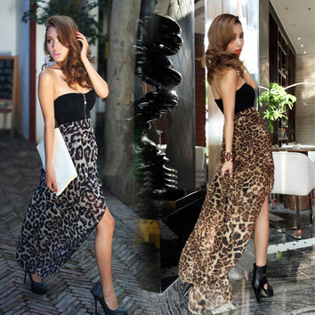 New Women Sexy Chiffon Bustier Party Maxi Cocktail Evening Club Dress Leopard Pattern