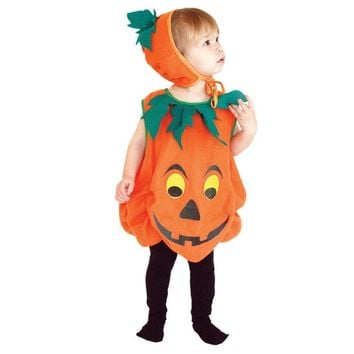 MOONIGHT Amazing 3 to 10 years old Children Halloween Costume Kids Pumpkin Outfit Clothes for Halloween Party  Jumpsuits +Hat