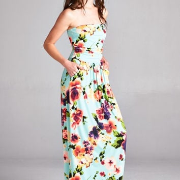 Balmy Evening Maxi Dress - Mint Floral