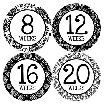 Pregnancy Baby Bump Week Stickers Style #912