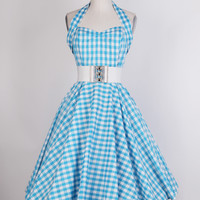 Reviews: 1950s White/Blue Halterneck Gingham Dress - £35.00 : Queen of Holloway, Dressing Shop