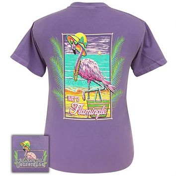 Girlie Girl Originals Preppy Flamingo Flamingle Comfort Color T-Shirt