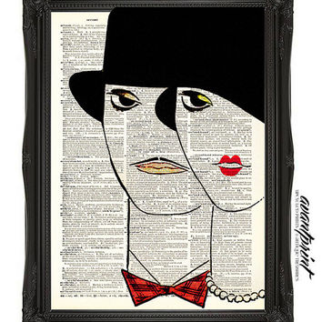 Mod Parisian Art Deco Duo Original Print on an Unframed Upcycled Bookpage