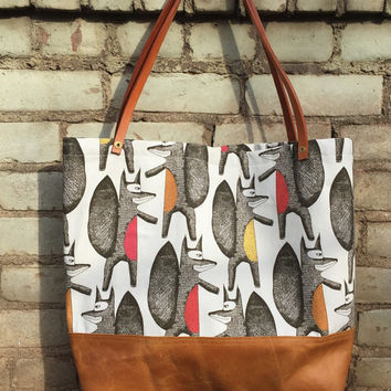 Fox Tote Bag - Cotton and Leather Tote Bag, cotton lined with interior pockets, leather straps and hand set brass rivets