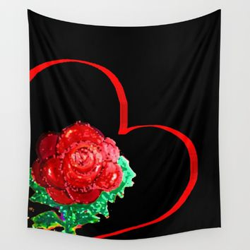 Heart of Rose Wall Tapestry by ES Creative Designs