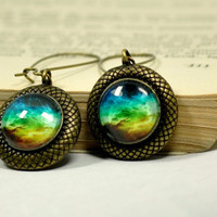 Colorful Galaxy Dangle Earrings, Glass Cabochon Resin Earrings
