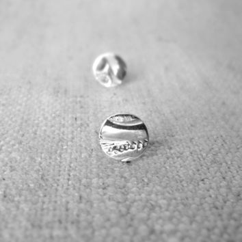 Sterling Silver Small Engraved Round Stud Earrings, Made From Vintage Silver