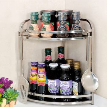 Nonslip 2-Tier Corner Cabinet Organizers  Kitchen Spice Condiment Shelf Rack