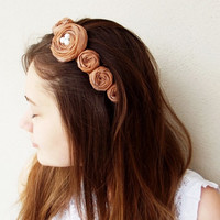 Brown Fabric Roses Bridal Hair Band