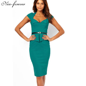 Nice-forever Summer Scoop Neck Sleeveless Solid Peplum dress Women Elegant tunic formal ZIP Work Female Pencil Dress BTY433
